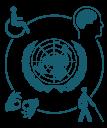 Simbolo das Nações Unidas em suas cores oficiais: azul e branco, formado pelo mapa mundi e rodeado de ramos de oliveira, simbolizando a paz. Em volta quatro símbolos (deficiência física, visual, auditiva e intelectual) representando a acessibilidade universal.