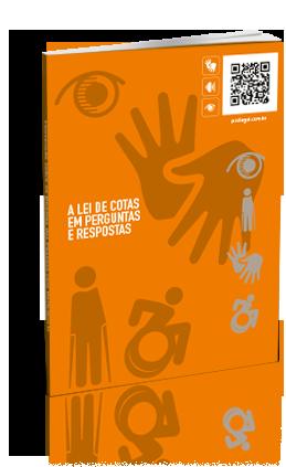 Capa da publicação, laranja, com símbolos de acessibilidade como fundo do título.